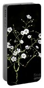 White Wild Flowers Portable Battery Charger