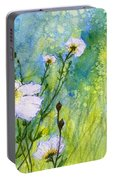 White Wild Poppies Portable Battery Charger