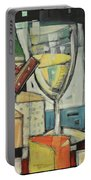 White Wine And Cheese Poster Portable Battery Charger