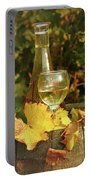 White Wine And Grape In Vineyard Portable Battery Charger