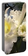 White With Yellow Orchids  Portable Battery Charger