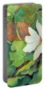 White Woodland Flower Portable Battery Charger
