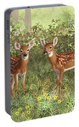 Whitetail Deer Twin Fawns Portable Battery Charger by Crista Forest
