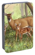 Whitetail Doe And Fawns - Mom's Little Spring Blossoms Portable Battery Charger