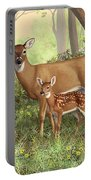 Whitetail Doe And Fawns - Mom's Little Spring Blossoms Portable Battery Charger by Crista Forest