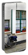 Whitewashed Brick House With Green Trimmed Shutters In Bruges Portable Battery Charger