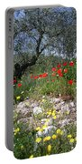 Wild Flowers And Olive Tree Portable Battery Charger