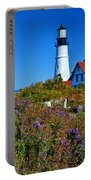 Wild Flowers Fading At The Portland Head Light Portable Battery Charger