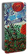 Wild Flowers Under Wild Sky Portable Battery Charger