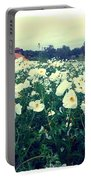 Wild Flowers White Portable Battery Charger