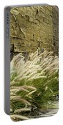 Wild Grass Along An Alley Wall Portable Battery Charger