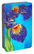 Wild Iris Art By Sharon Cummings Portable Battery Charger