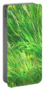 Wild Meadow Grass Structure In Bright Green Tones, Painting Detail. Portable Battery Charger