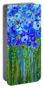 Wild Poppy Garden - Blue Portable Battery Charger