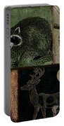 Wild Racoon And Deer Patchwork Portable Battery Charger