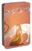 Wild Reindeer And Young Woman Becoming Friends - Poetic Painting Portable Battery Charger