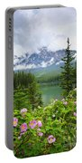 Wild Roses And Mountain Lake In Jasper National Park Portable Battery Charger