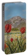 Wild Tulips In Central Crete Portable Battery Charger