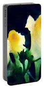 Wild Yellow Flowers On Dark Background Portable Battery Charger