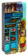 Wilensky's Counter With School Bus Montreal Street Scene Portable Battery Charger
