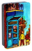 Wilensky's Lunch Counter With School Bus Montreal Street Scene Portable Battery Charger