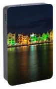 Willemstad And Queen Emma Bridge At Night Portable Battery Charger