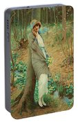 William Henry Margetson, Woman In A Spring Landscape. Portable Battery Charger