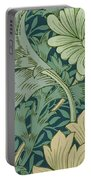 William Morris Wallpaper Sample With Chrysanthemum Portable Battery Charger