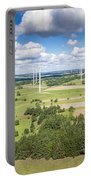 Wind Turbines In Suwalki. Poland. View From Above. Summer Time. Portable Battery Charger