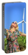 Wind Turbines Woman Portable Battery Charger
