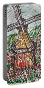 Windmill And Tulips  Portable Battery Charger