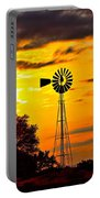 Windmill In Texas Sunset Portable Battery Charger