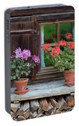 Window And Geraniums Portable Battery Charger