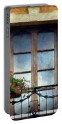 Window Shutters And Flowers I Portable Battery Charger