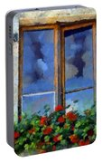 Window Shutters And Flowers IIi Portable Battery Charger
