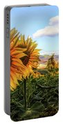 Window To The Sunflower Fields Oil Painting Portable Battery Charger