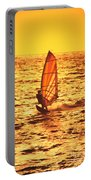 Windsurfer At Sunset Portable Battery Charger