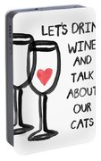 Wine And Cats- Art By Linda Woods Portable Battery Charger