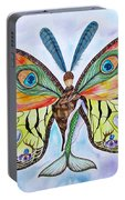 Winged Metamorphosis Portable Battery Charger by Lucy Arnold