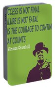 Winston Churchill Motivation Quote Portable Battery Charger