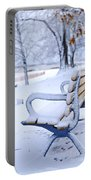Winter Bench Portable Battery Charger by Elena Elisseeva