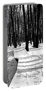 Winter Boardwalk In Black And White Portable Battery Charger