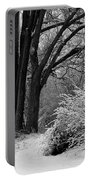 Winter Day - Black And White Portable Battery Charger