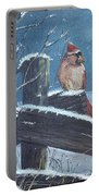 Winter Female Cardinal Portable Battery Charger