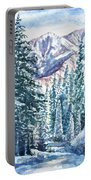 Winter Forest And Mountains Portable Battery Charger