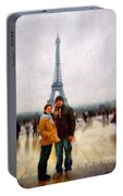 Winter Honeymoon In Paris Portable Battery Charger