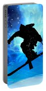 Winter Landscape And Freestyle Skier Portable Battery Charger