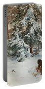 Winter Landscape With Hunters And Dogs Portable Battery Charger