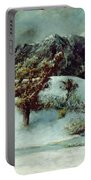 Winter Landscape With The Dents Du Midi Portable Battery Charger by Gustave Courbet
