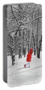 Winter Landscape With Walking Gir In Red. Blac White Concept Gra Portable Battery Charger